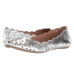 NIB UnionBay Terry Silver Cut-out Flats